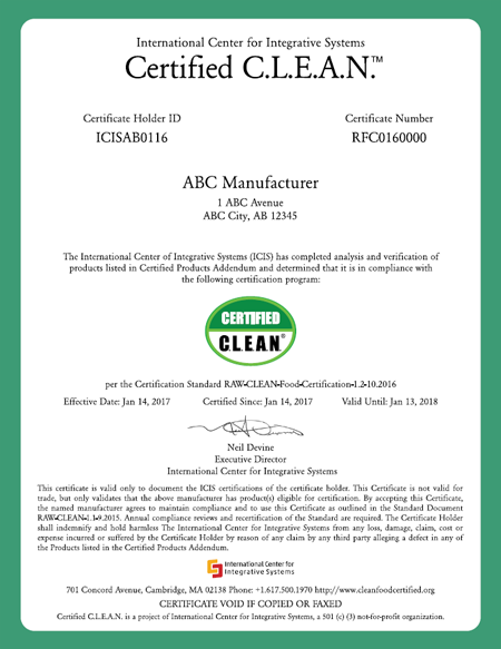 Certification C.L.E.A.N.