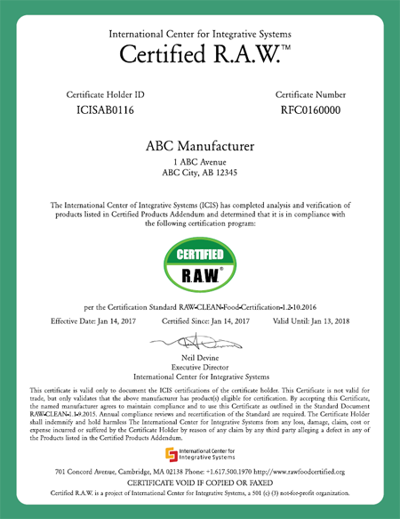Certification R.A.W.